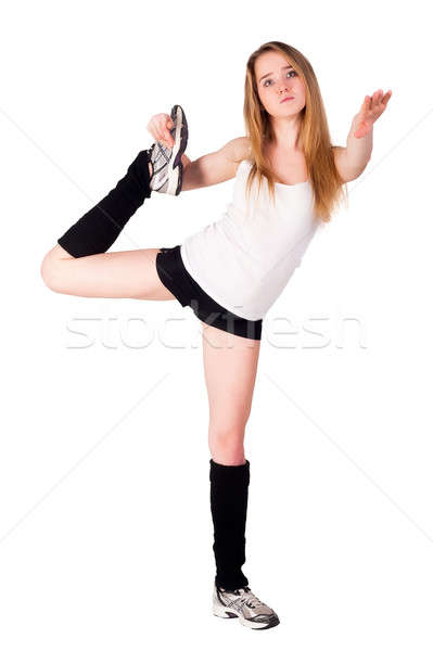 fitness woman making balance exercise Stock photo © Aikon
