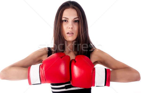 Portret vrouwelijke bokser jonge mooie vrouw Stockfoto © Aikon