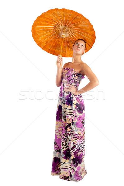 çekici kız şemsiye genç güzel bir kadın Asya yalıtılmış Stok fotoğraf © Aikon