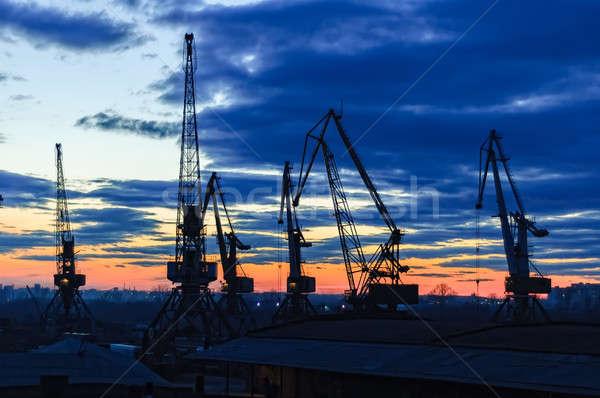Stok fotoğraf: Tan · nehir · siluetleri · akşam · gün · batımı · bahar