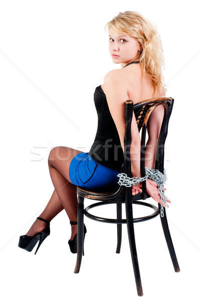 Güzel rehin çekici genç kadın yukarı zincirleri Stok fotoğraf © Aikon