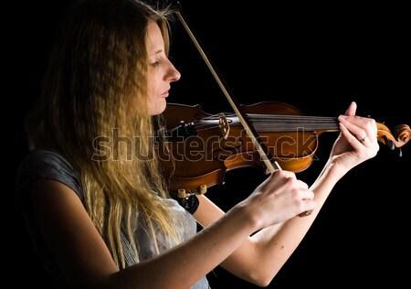 Сток-фото: красивая · женщина · скрипки · молодые · играет · музыку
