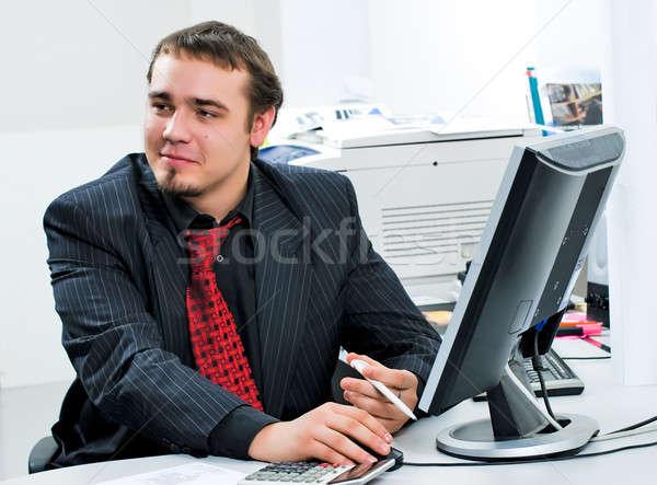 Photo stock: Affaires · bureau · jeunes · travail · ordinateur · mains