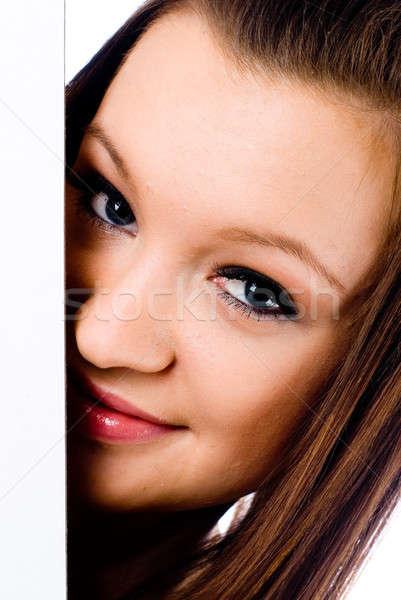 Mooie brunette vrouw banner portret prachtig Stockfoto © Aikon