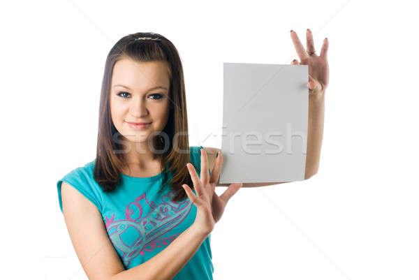Girl wth blank sheet Stock photo © Aikon
