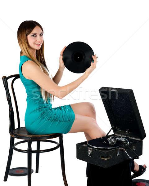 Stockfoto: Mooie · vrouw · grammofoon · mooie · vrouw · geïsoleerd · witte · muziek