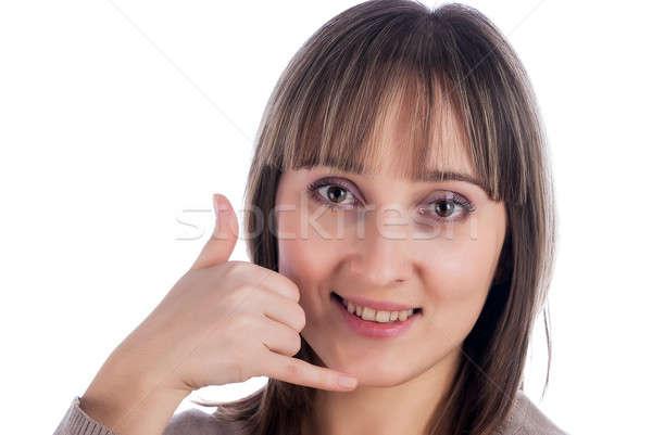 Vrouw gebaar witte mooie vrouw Stockfoto © Aikon