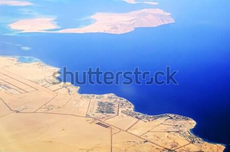 Légifelvétel part Egyiptom hotelek Vörös-tenger tengerpartok Stock fotó © Aikon