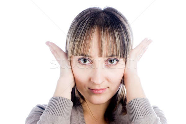 Woman covering her ears Stock photo © Aikon