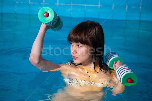 Bella ragazza aerobico esercizio Foto d'archivio © Aikon