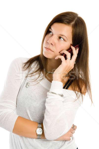 Mooie vrouw praten mobiele telefoon mooi meisje telefoon geïsoleerd Stockfoto © Aikon