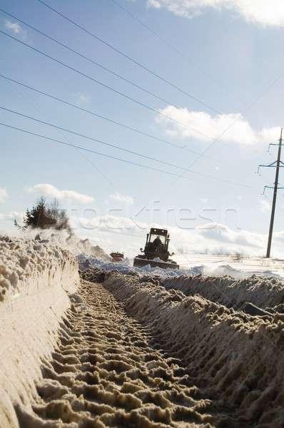 Kar yol kar fırtınası ev kamyon çalışma Stok fotoğraf © Aikon