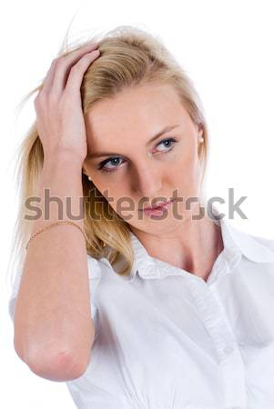 Young attractive woman with surprised emotion Stock photo © Aikon