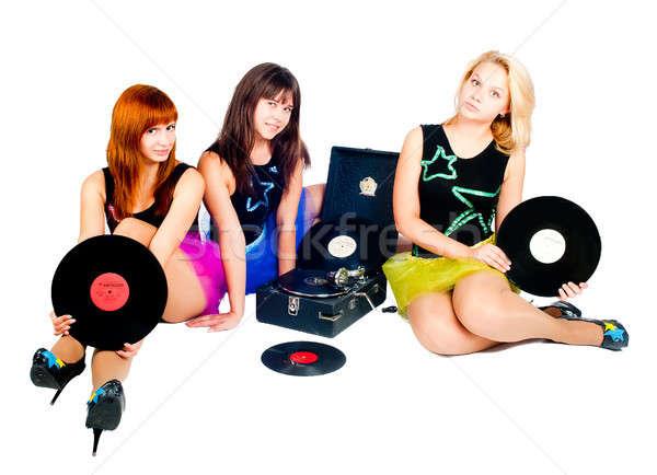 Stockfoto: Drie · mooie · meisjes · grammofoon · jonge · mooie