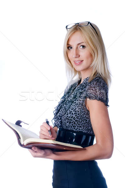 Young beautiful girl with diary log Stock photo © Aikon