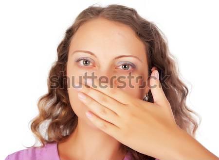 No gesto jóvenes mujer rubia mano Foto stock © Aikon