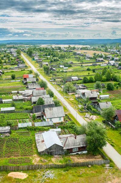 Luchtfoto dorp hoog punt vogels oog Stockfoto © Aikon