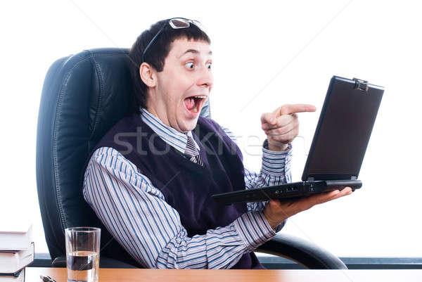 Jonge zakenman laptop portret gelukkig zakenman Stockfoto © Aikon