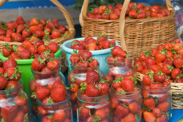 Strawberry collected in jar, buckets and baskets Stock photo © Aikon