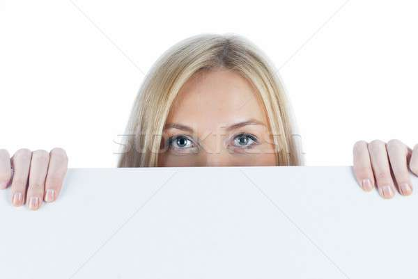 Woman beside whiteboard Stock photo © Aikon