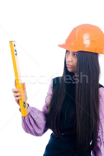 Aantrekkelijk meisje helm niveau jonge vrouwelijke werknemer Stockfoto © Aikon
