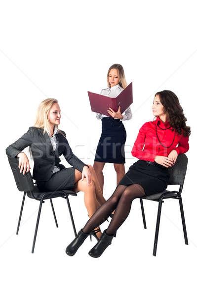 Tres empresarias blanco negocios mujeres feliz Foto stock © Aikon