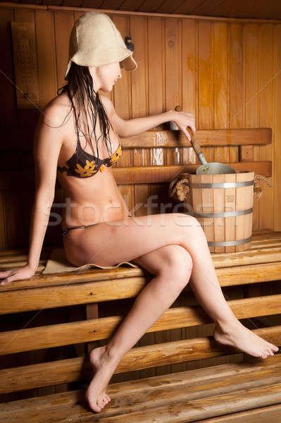 Genç kadın rahatlatıcı sauna genç güzel bir kadın sıcak Stok fotoğraf © Aikon