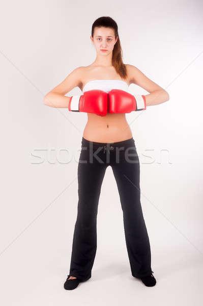 Foto stock: Retrato · feminino · boxeador · jovem · belo · mulher