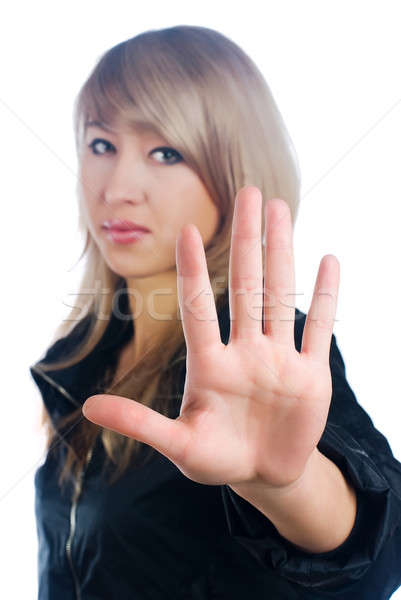 Pretty girl with stop gesture Stock photo © Aikon