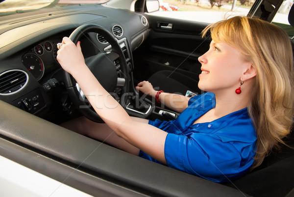 Smiling woman on drive Stock photo © Aikon