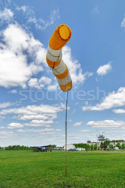 Summer hot day on sport airport with windsock Stock photo © Aikon