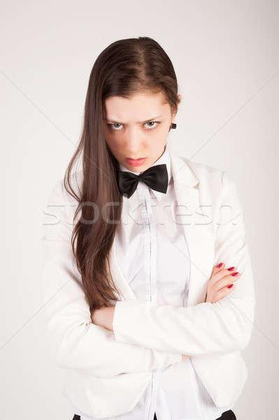 Stockfoto: Boos · zakenvrouw · business · dame · witte · pak