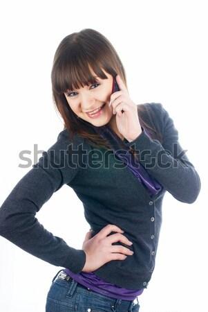 Mooie brunette meisje praten telefoon aantrekkelijke vrouw Stockfoto © Aikon