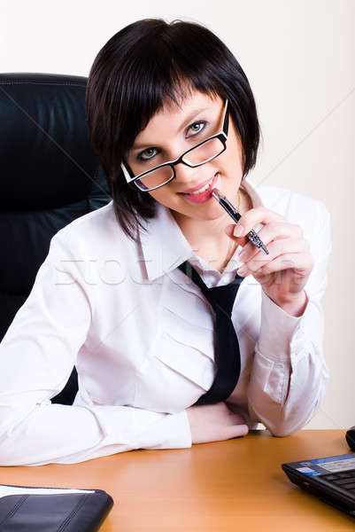 Işkadını çalışma dizüstü bilgisayar ofis genç güzel Stok fotoğraf © Aikon