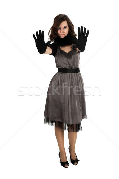 Pretty woman showing stop gesture Stock photo © Aikon