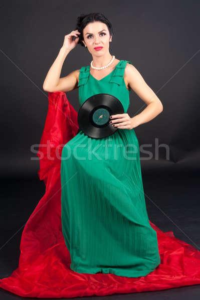 довольно девушки виниловых диска молодые Сток-фото © Aikon