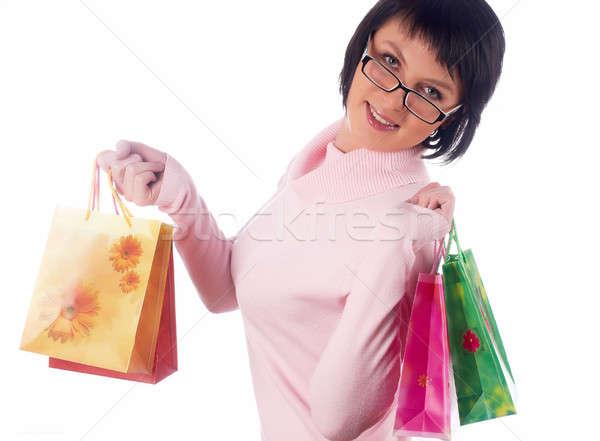 肖像 幸せ 笑顔の女性 ホールド ショッピングバッグ 幸福 ストックフォト © Aikon