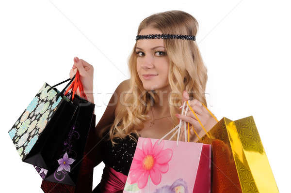 Attractive blond woman with shopping bags Stock photo © Aikon