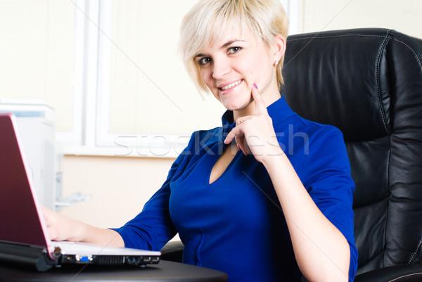Businesswoman with laptop Stock photo © Aikon