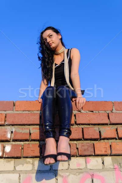 かなり 少女 座って 屋根 魅力のある女性 赤 ストックフォト © Aikon