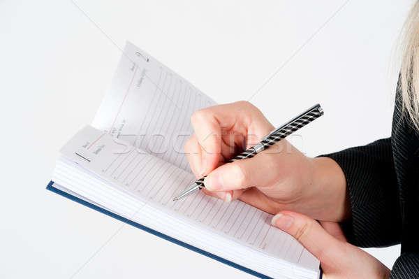 Femme écrit organisateur femme d'affaires mission affaires Photo stock © Aikon