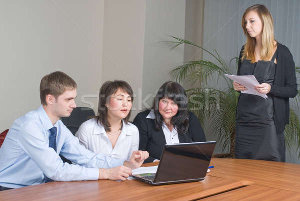 Attractive woman makes business presentation Stock photo © Aikon