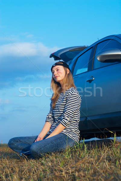 Giovani donna auto rotta ragazza auto Foto d'archivio © Aikon