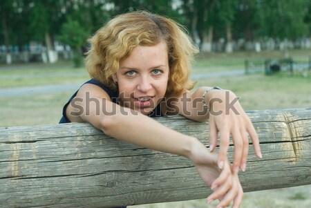 Vonzó fiatal szőke nő szeplők figyelmes nő Stock fotó © Aikon