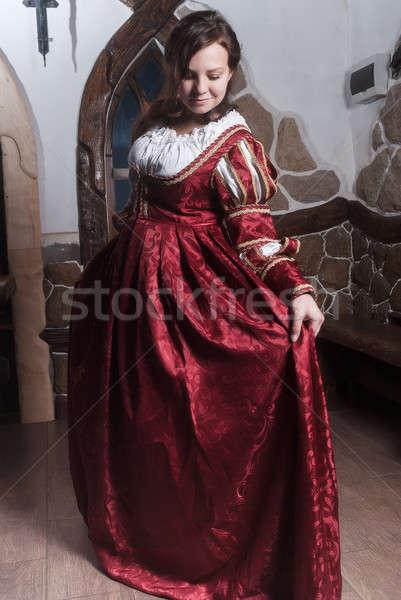 Portre zarif kadın ortaçağ çağ elbise Stok fotoğraf © Aikon
