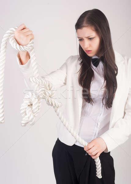 Mulher de negócios nó problema retrato bastante estudante Foto stock © Aikon
