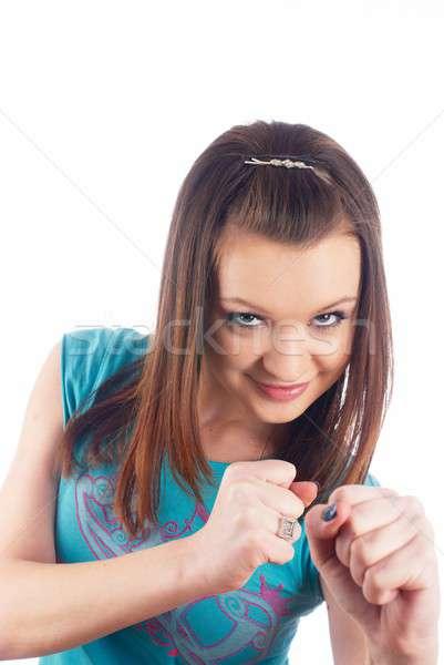 Stockfoto: Mooie · meisje · glimlach · jonge · aantrekkelijk · glimlachende · vrouw