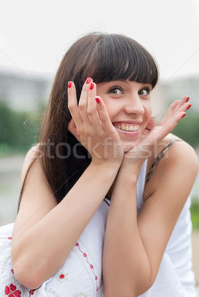 Mooie vrouw glimlachend park aantrekkelijke vrouw perfect glimlach Stockfoto © Aikon