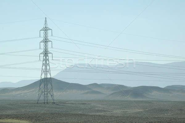 Eletricidade torre deserto Egito mar vermelho África Foto stock © Aikon