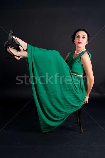 ストックフォト: かなり · 若い女性 · 椅子 · 脚 · 魅力的な